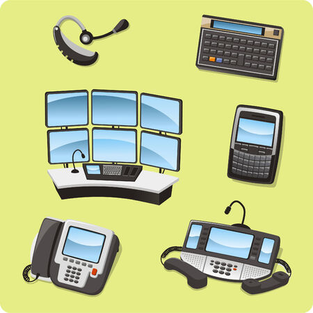 handsfree: finance Trader set vector cartoon icons Illustration