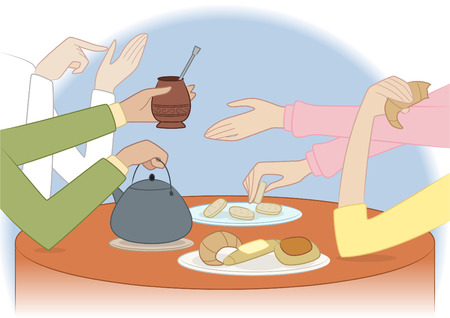 People sharing a traditional argentinian meal vector illustration Ilustração