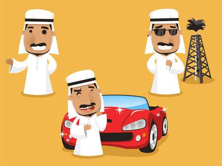 arab adult: Sheikh set Royalty Power Wealth, vector illustration cartoon.