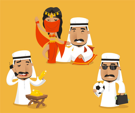 sheik: Sheikh Royalty Power Wealth Set, vector illustrationc cartoon.