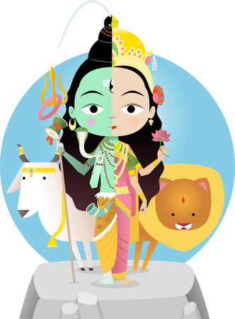indian culture: Hindu god Shivashakti cartoon illustration