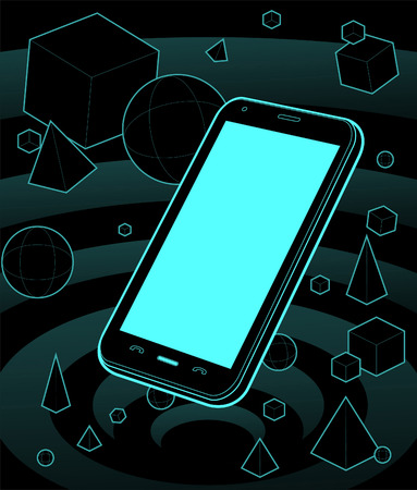 Featuring a smartphone in a neon galaxy, sorrounded by geometric 3d shapes. take a close look to check the detail.