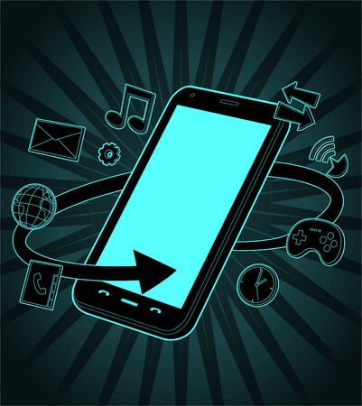 Smart phone vector illustration surrounded by a number of icons related to the functions and apps included in any smartphone, such as games, agenda, email,music, wifi, 3g, and gps. Vector