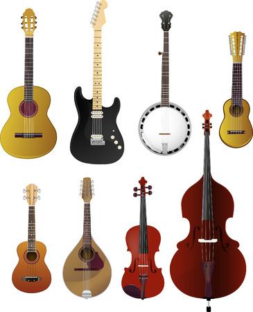 Snaarinstrumenten cartoon set Stock Illustratie