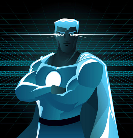 Superhero galaxy with shining eyes and blue costume in between dimensions galaxy power. With blue costume and light blue cape, black belt and superhero power on its chest vector illustration.