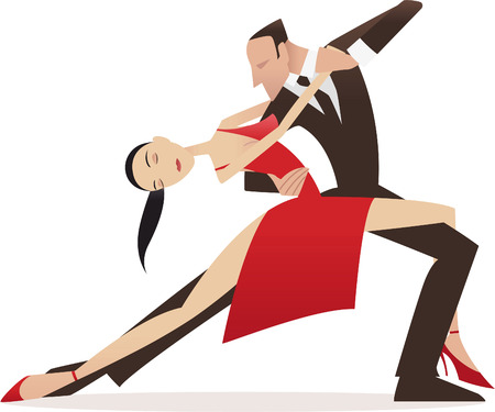 Tango couple dancing vector illustration Çizim