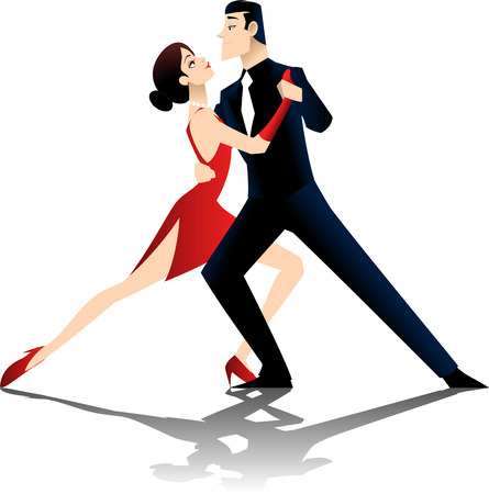 ballroom: A couple dancing the tango, isolated on white background.