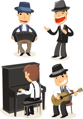 Cartoon Tango musicians playing instruments. Vector