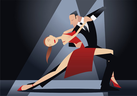 ballroom dancing: Couple dancing tango illustration