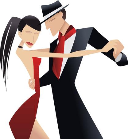 ballroom dancing: Tango couple dancing milonga