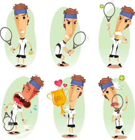 tennis net: Tennis player cartoon set Illustration