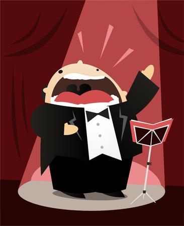 Tenor Opernsängerin Cartoon Vektorgrafik