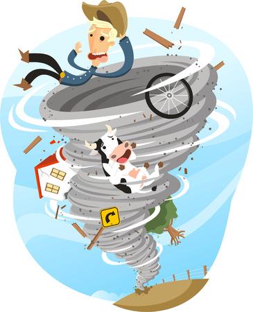 Tornado Burza Twister Chmura Wiatr Deszcz Pogoda, ilustracji wektorowych kreskówki.