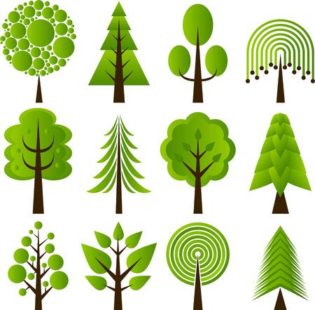 willow trees: tree design icons
