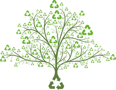 environmental awareness: tree with recycle icons as leaves