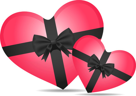 chocolate box: Two hearts shaped box with black ribbon vector illustration.