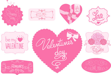 short phrase: Valentine labels. Love, Happy day, valentines day, february 14, be my valentine, for you, love you vector illustration. Illustration