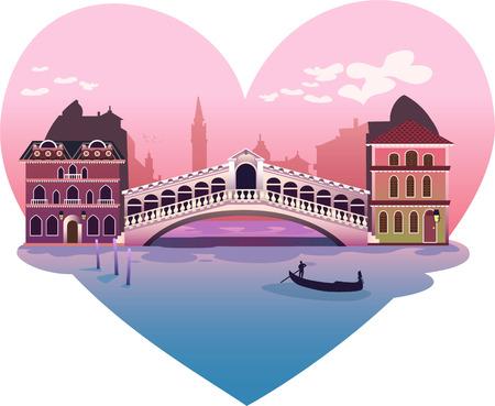xoxo: Heart shape venice scene background illustration Illustration