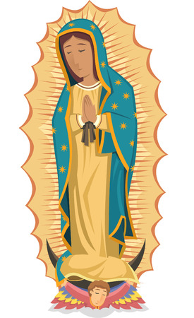 catholicism: Mexican religuos icon virgen de guadalupe cartoon illustration