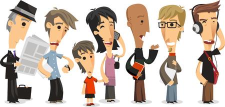 fila de personas: Línea de Espera de pie Gente en cola, ilustración vectorial de dibujos animados. Vectores