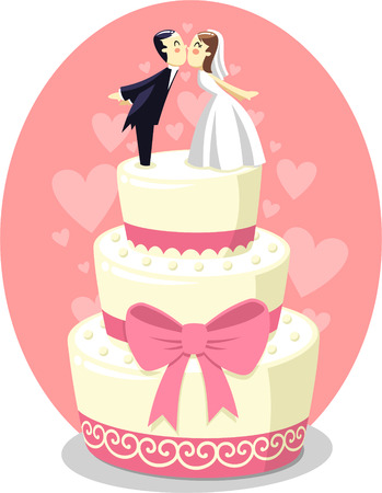 Wedding Cake with Bride and Groom Figurines, vector illustration cartoon.