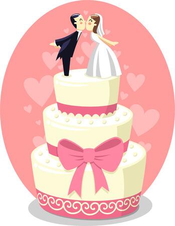 pastel boda: Torta de boda con la novia y el novio Figurines, ilustración vectorial de dibujos animados.
