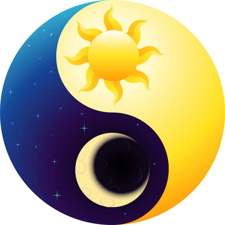 Ying Yang vector cartoon linked to day and night ideas. Иллюстрация