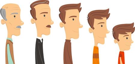 hombres maduros: El hombre a trav�s del tiempo, el envejecimiento vector ilustrador. Vectores