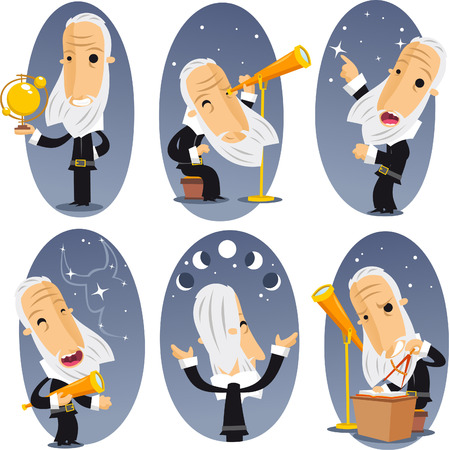 observing: Astronomer astronomy Telescope Globe Observing Sky Stars Constellations. Vector illustration cartoon.