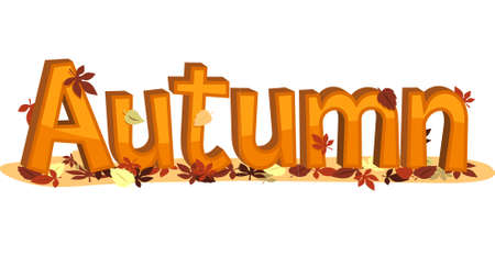 fall images: Autumn Sign with falling leaves. Vector illustration image