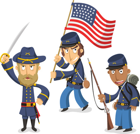 Confederacy Civil War America, vector illustration cartoon. Ilustração
