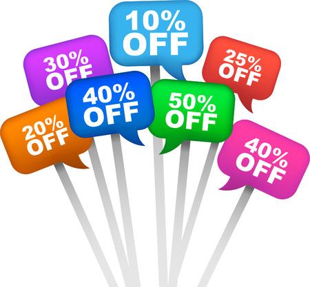 Rabatt-Verkaufs-OFF 10% 20% 25% 40% 30% 50%, Vektor-Illustration Cartoon. Standard-Bild - 34031008