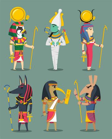 Egyptische Goden en Godinnen Egypte, met Osiris, Isis, Horus, Set, Anubis, Hath-of, Ra, Thoth. Vector illustratie cartoon.