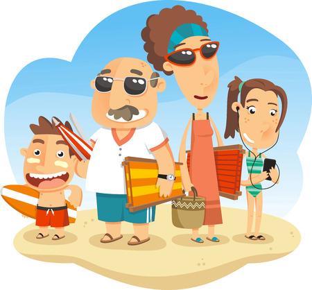 transat: Famille en vacances � la plage, avec les parents et les enfants et tous les maillot de bain, sandales, flip flop, maillot de bain, flip flop, sandales, panier, sable, chaise en toile, chaise longue, parasol, lunettes parasol, parapluie, lunettes de soleil, plage, oc�an, piscine, sunbat