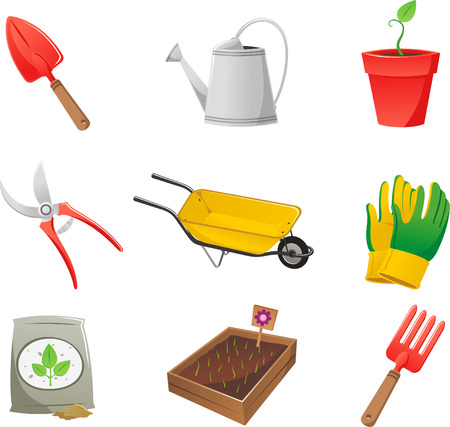 Gardening icon set, with shovel, watering can, wheelbarrow, plant, growing plant, gloves, pliers, soil, soil bag, vegetable garden and rake. Vector illustration cartoon.