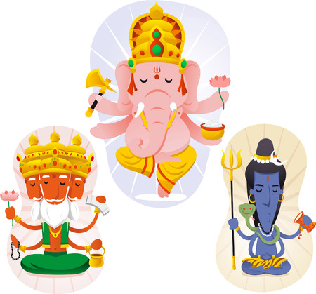 ramayana: Hindu god set containing Brahma, Shiva and Ganesha.