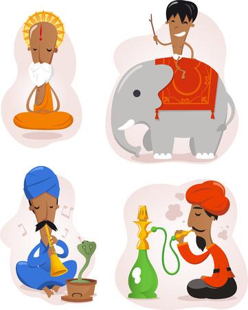 India people cartoon set Illustration