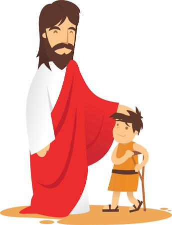 Jesus is aproached by ill boy to be healed. Illusztráció