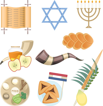 Jewish culture elements Torah hexagram menorah knishes bread pipe