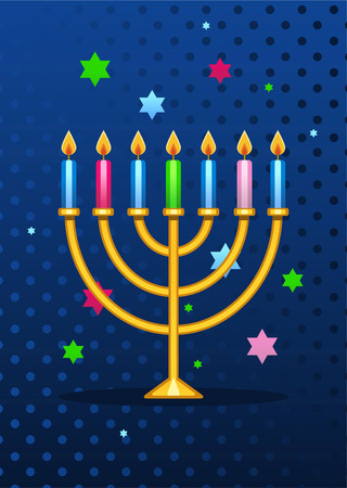 hebrew script: Jewish menorah cartoon illustration