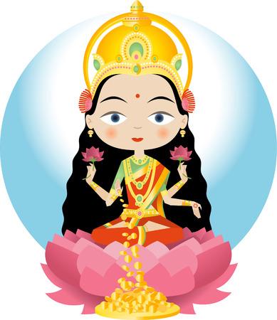 ラクシュミー: ヒンズー教の女神の富、繁栄 (物質的および精神)、ライト、知恵、フォーチュン、不妊治療、寛大さおよび勇気;美しさ、優雅さと魅  イラスト・ベクター素材