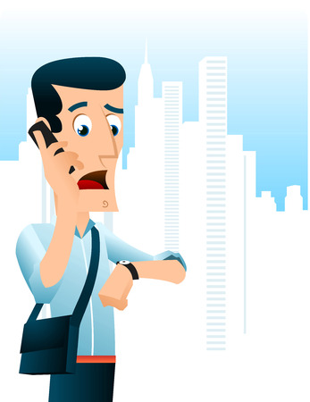 busy city: Man in a hurry talking on the phone Illustration