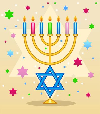candlestick: Menorah color cartoon illustration