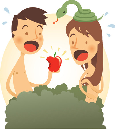 Adam and eve cartoon illustration Stock Illustratie