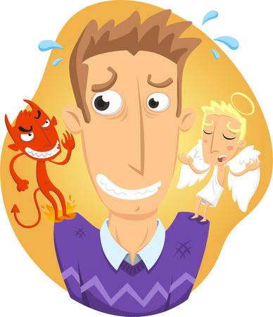 deeds: Angel and devil on a man´s shoulder cartoon Illustration