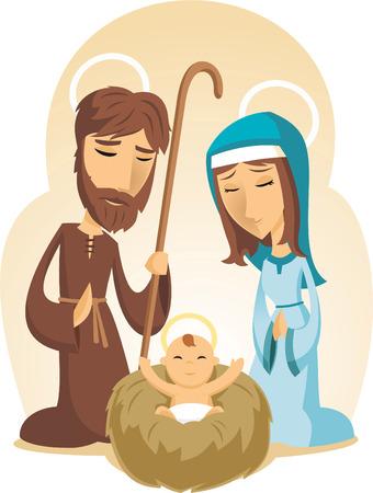 nascita di gesu: Christmass Bambino Gesù Presepe con Maria vergine e padre Joseph illustrazione vettoriale dei cartoni animati.