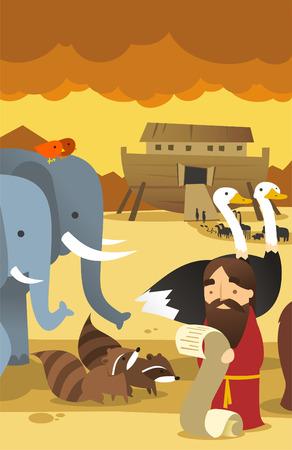 Noah with animals and arc genesis illustration