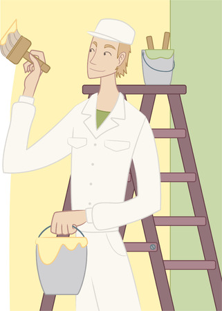 house painter: Vector illustration of a house painter in action holding a brush while painting the interior of a house. Illustration