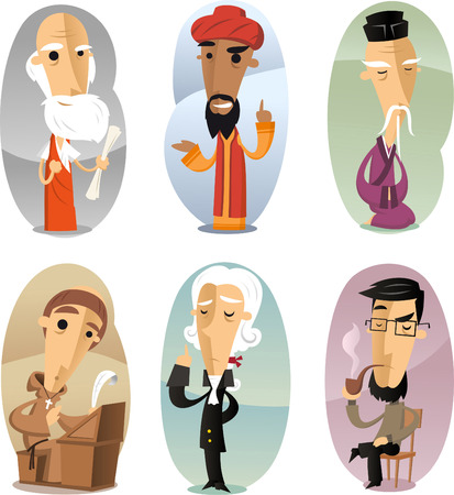 Various cartoon Philosophers through ages, aristoteles, kant, hegel, confucious, saint, psicologist.