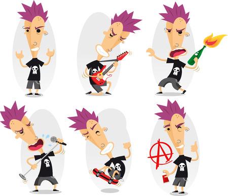 Punk cartoon illustratie set Stock Illustratie